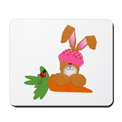 Cute Bunny With Carrot Mousepad