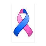Blue and Pink Awareness Ribbon Rectangle Sticker