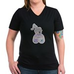 Butterfly Kisses Teddy Bear Women's V-Neck Dark T-