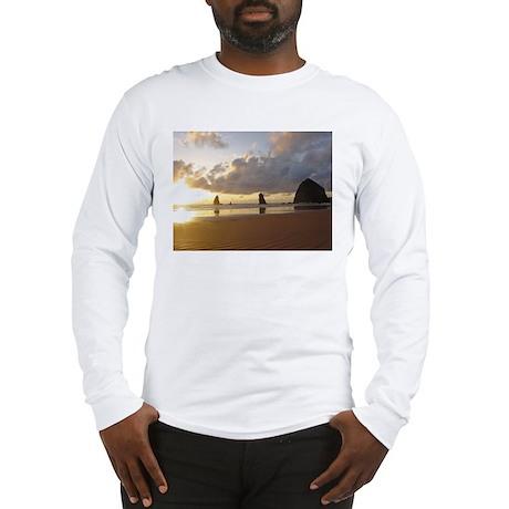 Cannon Beach, Oregon Sunset Long Sleeve T-Shirt