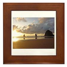Cannon Beach, Oregon Sunset Framed Tile