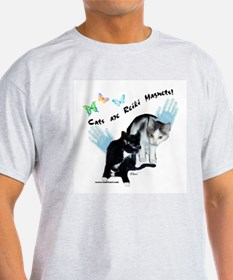 Cats Are Reiki Magnets Ash Grey T-Shirt