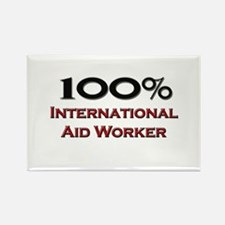 100 Percent International Aid Worker Rectangle Mag