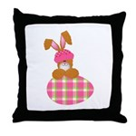 Cute Bunny With Plaid Easter Egg Throw Pillow