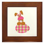 Cute Bunny With Plaid Easter Egg Framed Tile