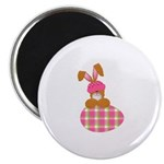 Cute Bunny With Plaid Easter Egg Magnet