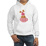 Cute Bunny With Plaid Easter Egg Hooded Sweatshirt