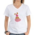 Cute Bunny With Plaid Easter Egg Women's V-Neck T-