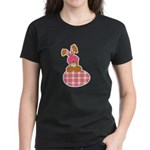 Cute Bunny With Plaid Easter Egg Women's Dark T-Sh