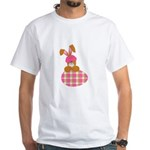 Cute Bunny With Plaid Easter Egg White T-Shirt