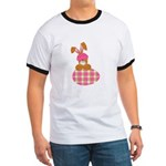 Cute Bunny With Plaid Easter Egg Ringer T