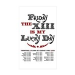 Friday the 13th Rectangle Sticker 10 pk)