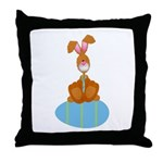 Bunny Sitting on Easter Egg Throw Pillow