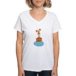 Bunny Sitting on Easter Egg Women's V-Neck T-Shirt
