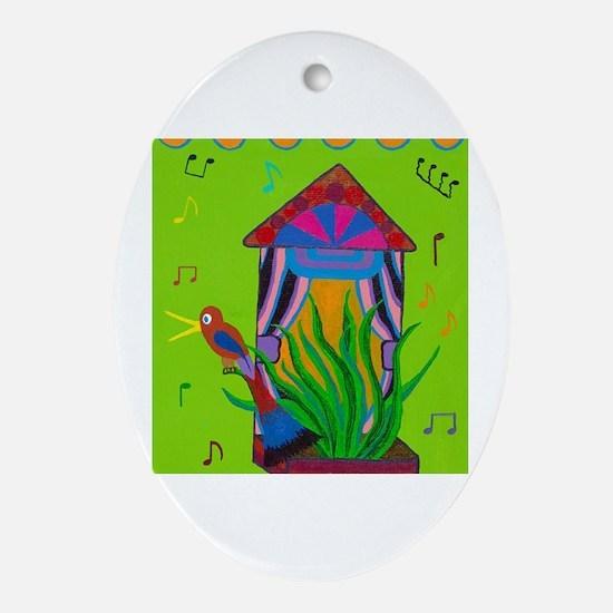 Cute Singing bird Oval Ornament