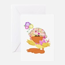 Cute Baby Girl Ducky Duck Greeting Card