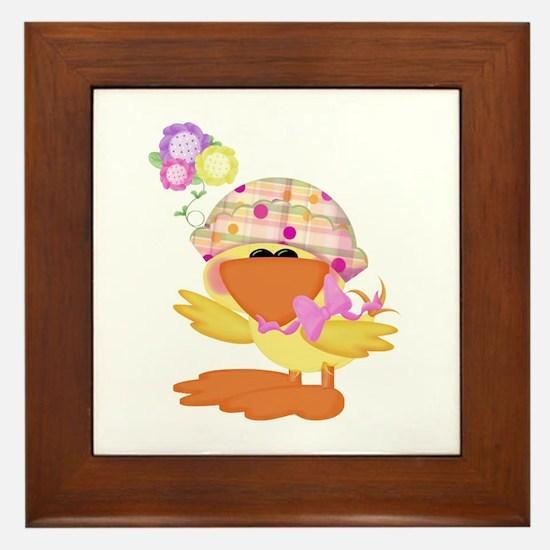 Cute Baby Girl Ducky Duck Framed Tile