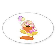 Cute Baby Girl Ducky Duck Oval Decal