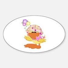 Cute Baby Girl Ducky Duck Oval Decal