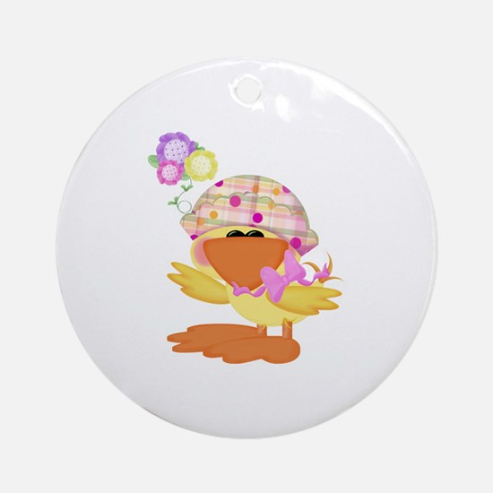 Cute Baby Girl Ducky Duck Ornament (Round)