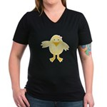 Cute Little Girl Chick Women's V-Neck Dark T-Shirt