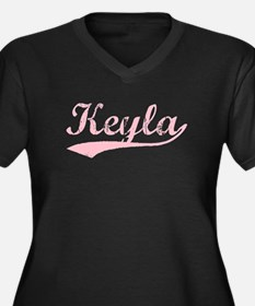 Vintage Keyla (Pink) Women's Plus Size V-Neck Dark