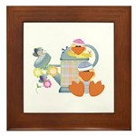 Cute Garden Time Baby Ducks Framed Tile