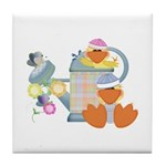 Cute Garden Time Baby Ducks Tile Coaster