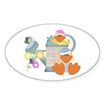 Cute Garden Time Baby Ducks Oval Sticker (10 pk)