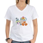 Cute Garden Time Baby Ducks Women's V-Neck T-Shirt