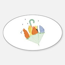 Baby Ducky In Umbrella Oval Decal