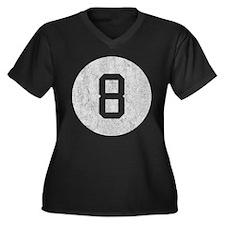 Vintage 8 Ball Women's Plus Size V-Neck Dark T-Shi