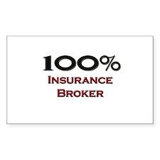 100 Percent Insurance Broker Rectangle Decal