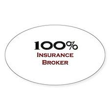 100 Percent Insurance Broker Oval Decal