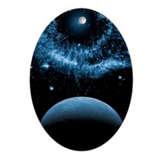 Blue Space Oval Ornament