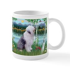 Birches Scene with Old English Sheepdog Mug