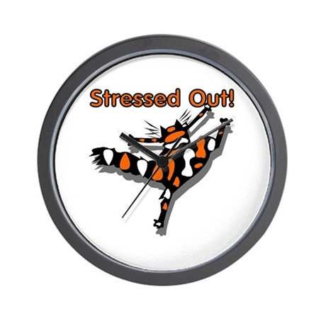 Stressed Out Cat Wall Clock