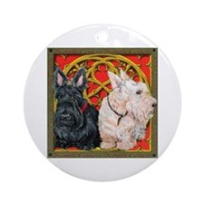 Scottish Terriers Celtic Dogs Ornament (Round)