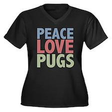 Peace Love Pugs Women's Plus Size V-Neck Dark T-Sh