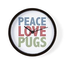 Peace Love Pugs Wall Clock