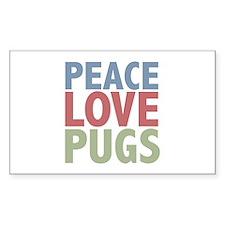 Peace Love Pugs Rectangle Decal
