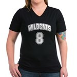 Wildcats 8 Women's V-Neck Dark T-Shirt