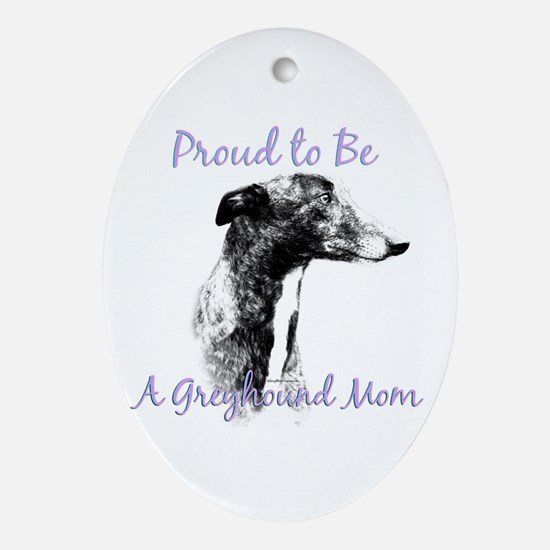 Greyhound Mom1 Oval Ornament