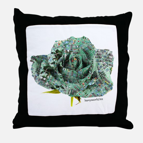 Cyber Rose Throw Pillow
