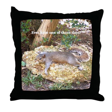Tired Squirrel Throw Pillow