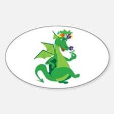 Flower Dragon Oval Decal