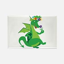 Flower Dragon Rectangle Magnet