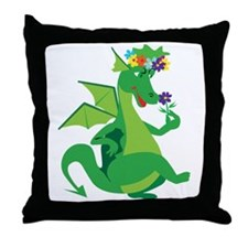 Flower Dragon Throw Pillow