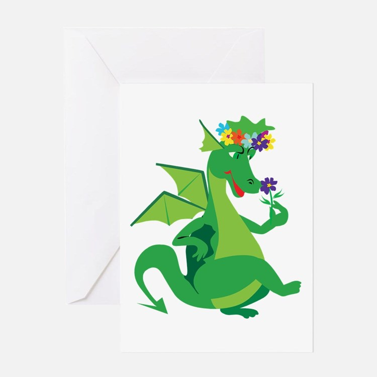 Flower Dragon Greeting Card