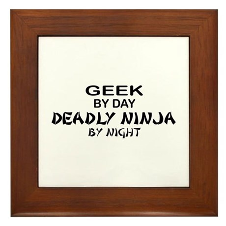 Geek Deadly Ninja by Night Framed Tile